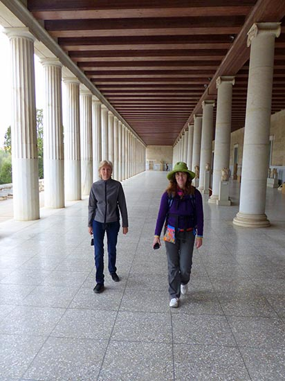 Strolling along the colonnade of the Stoa - Jen Funk Weber