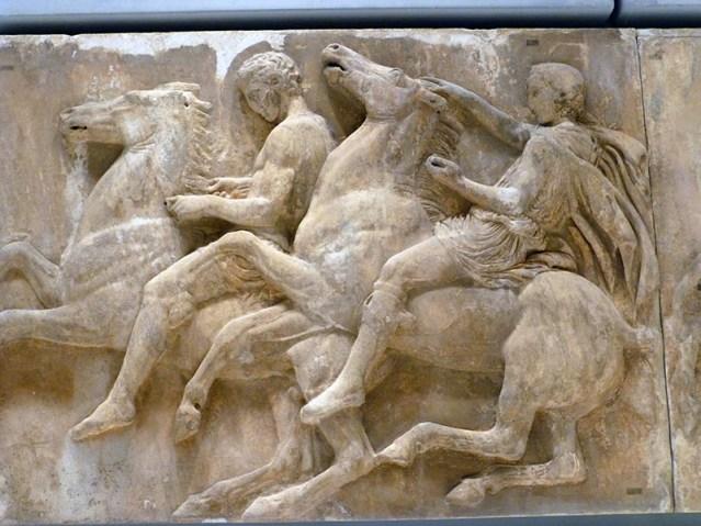 Slaves riding chariot horses, Panathenaic procession - Jen Funk Weber