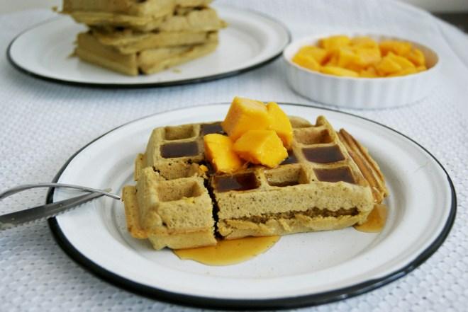 Waffles con té matcha