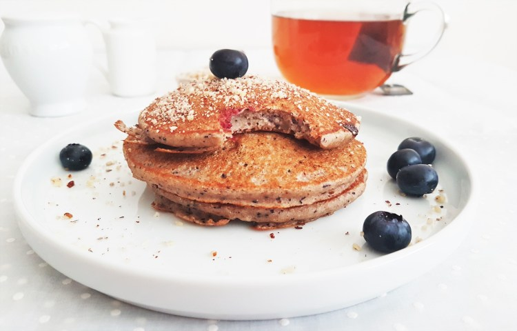Hotcakes integrales de blueberry