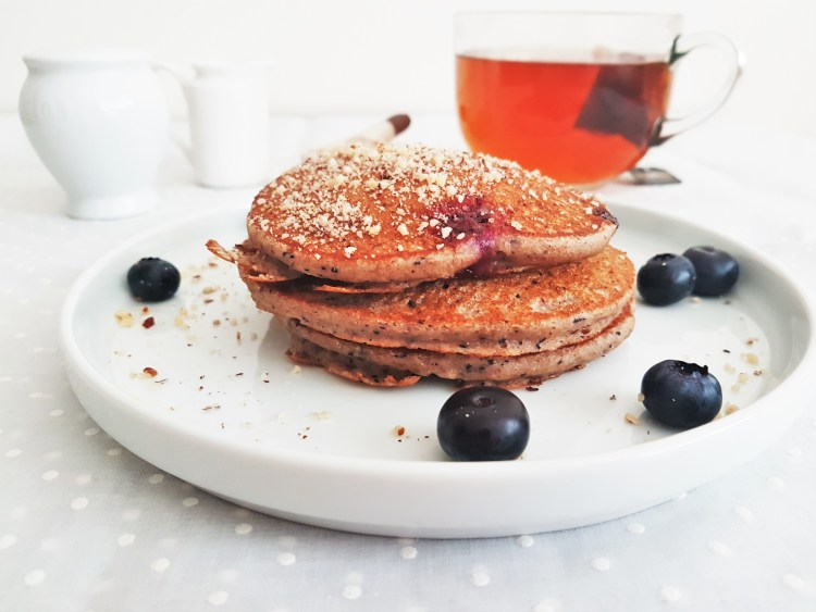 Hotcakes integrales de blueberry