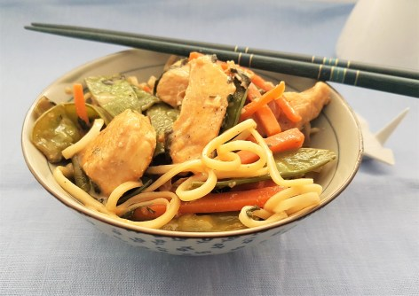 Chicken stir fry in coconut sauce