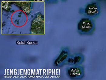 Peta Pulau Sebuku, Sebesi, Anak Krakatau. Sumber: Google Maps.