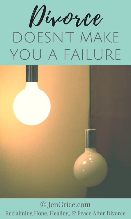 Just because your divorce failed doesn't mean you are a failure. So many good things can come out of a divorce and even your failures. Divorce is just another chance to live and learn. via @msjengrice
