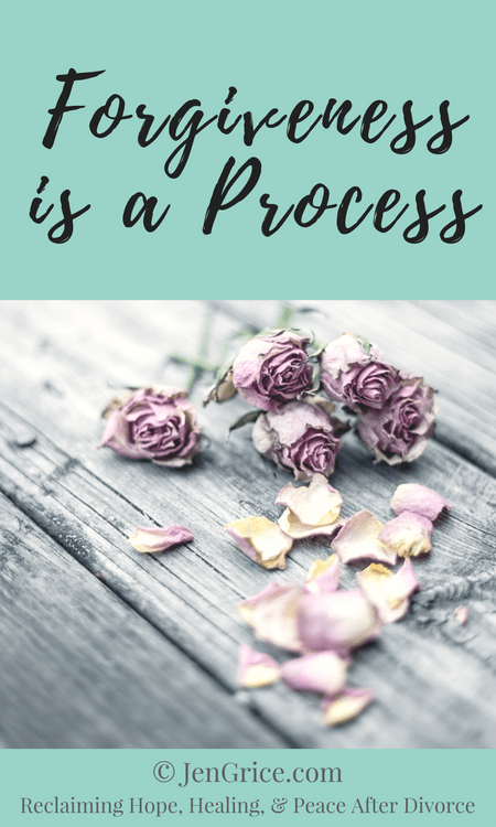Forgiveness is not the first step in the divorce healing process. It is part of the process but not the first step. Often times the process takes years as the truth becomes clear and we remember all that has gone on.