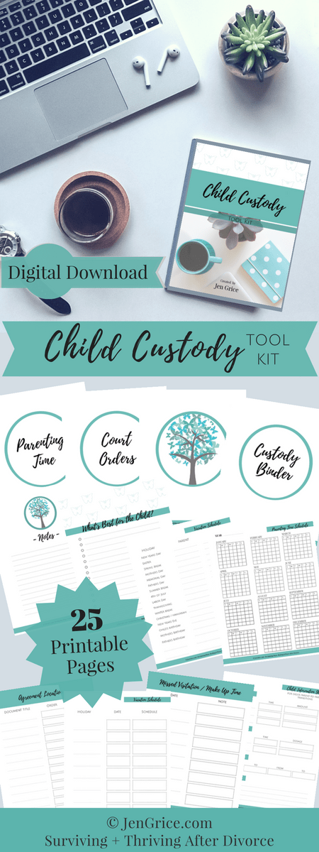 Be organized, feel confident and be prepared with this Child Custody Digital Tool Kit. The kit (PDF printable packet) includes every page needed to create your own Custody Binder – a resourceful tool for surviving a divorce with child custody.