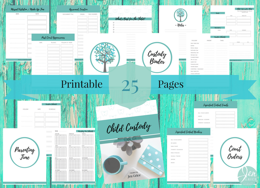 Child Custody Digital Tool Kit | Divorce Binder | By Jen Grice