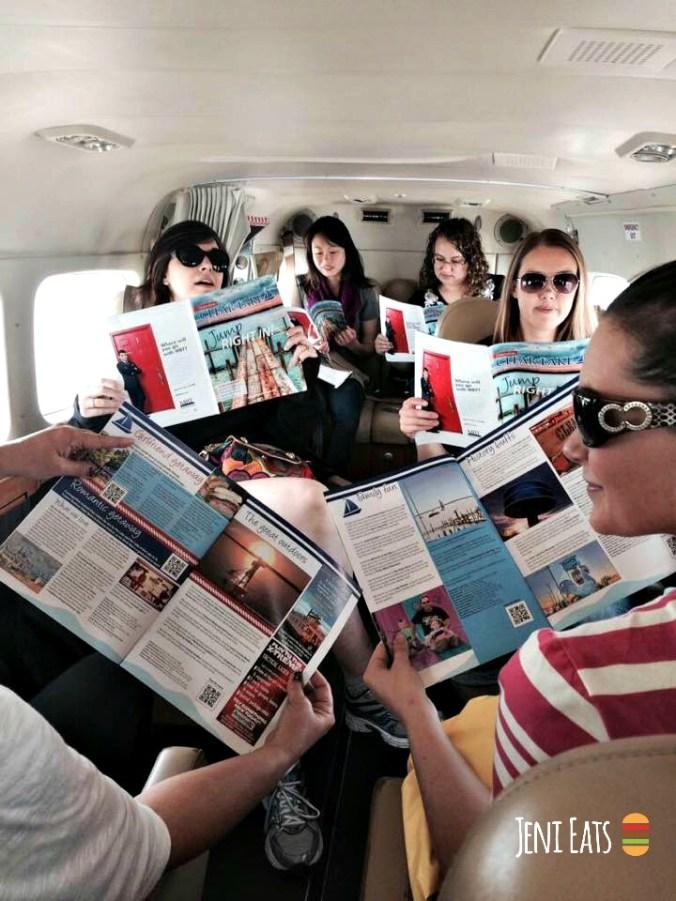 magazine on plane