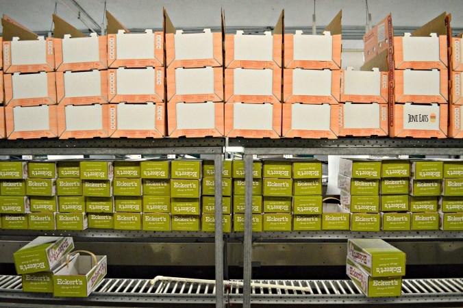 shelves peach boxes