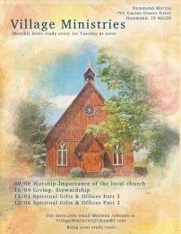 Winter flyer for Village Ministries