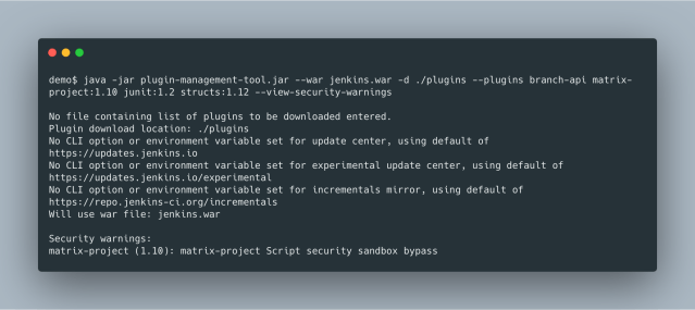 Security Warning CLI Option Example