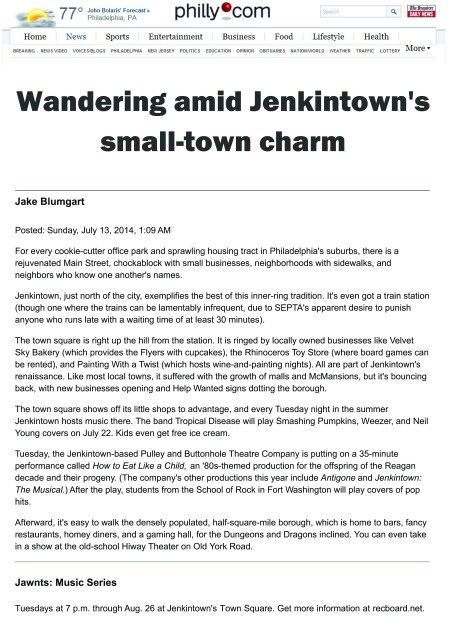 Jenkintown's feature in Philly.com in 2014.