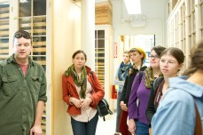 Students learning about behind the scenes action at the MCZ.