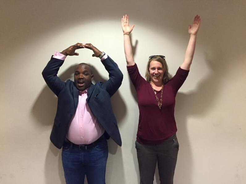 Buckeyes Sarah and Larry Brownlee salute - O-H!