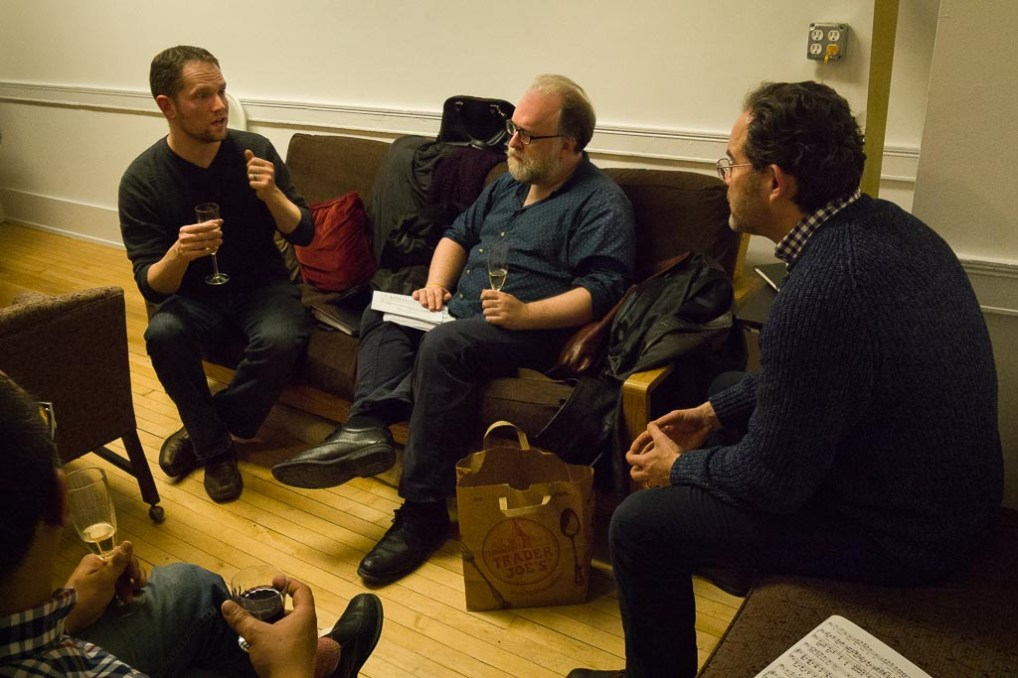 With Gerald Finley and Richard Wiegold, enjoying an evening of Lieder and conversation; Photo Credit: Paul Crisanti