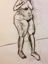 """18"""" x 24"""" Vine Charcoal on Newsprint drawn from Live Model"""