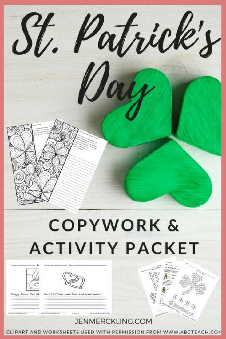 I'm sharing my FREE Saint Patrick's Day Copywork and Activity Packet--which is created for multiple ages (Kindergarten through Upper Elementary)!