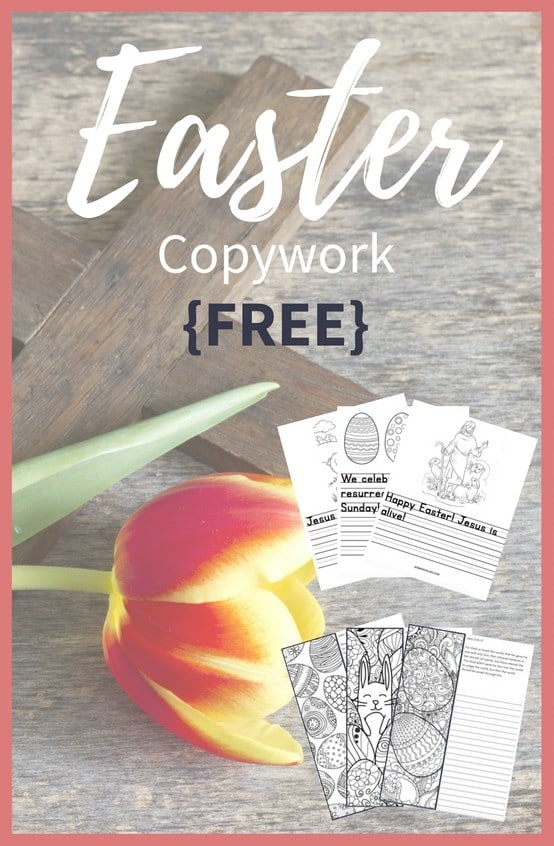 Grab your Free Easter Copywork! Created for multiple-ages, the copywork includes coloring and bible verses--10 pages total, to help your family celebrate Easter!