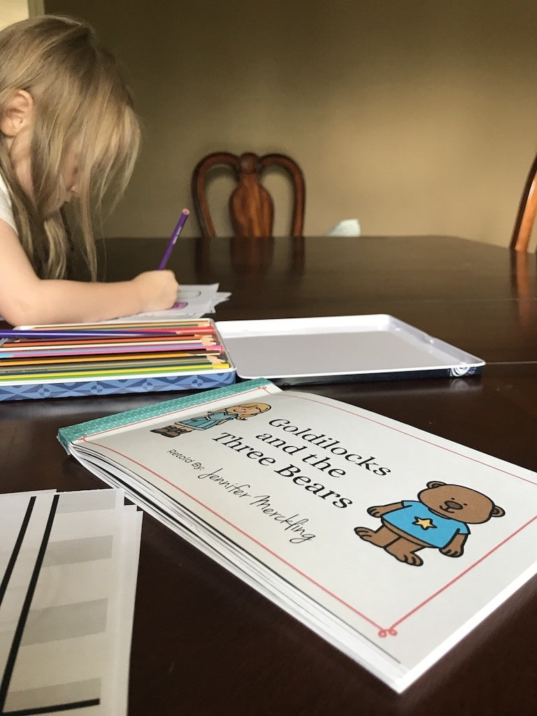 Girl Coloring and Goldilocks and the Three Bears Read Along Book