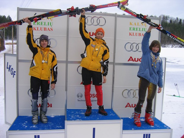 KE boys on the podium in Ignalina. From left, Dominykas Juknelevičius, the first KE skier to enter FIS-sanctioned races, Karolis Janulionis, and Algimantas Milašius.