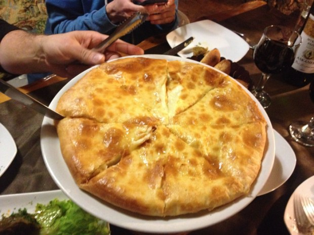 Khachapuri is a traditional Caucasian dish of fried flatbread stuffed with cheese.