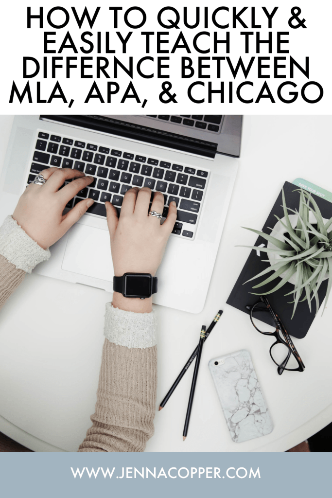 What is the difference between MLA, APA, and Chicago? Learn an easy way to explain to these differences to your high school students! This will help them understand how to cite research and write effective synthesis essays.