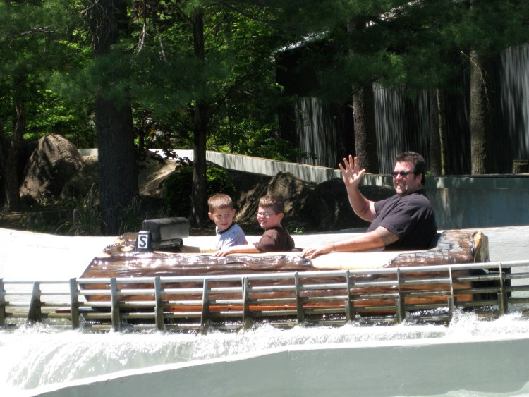Quentin, Adam, and Ray on the log flume at Knoebels Amusement Park
