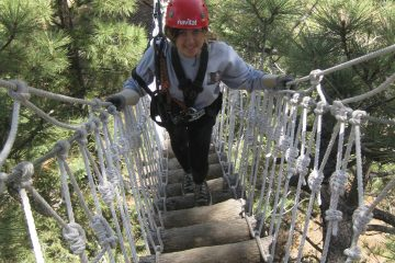 Ashla on Wrightwood suspension bridge