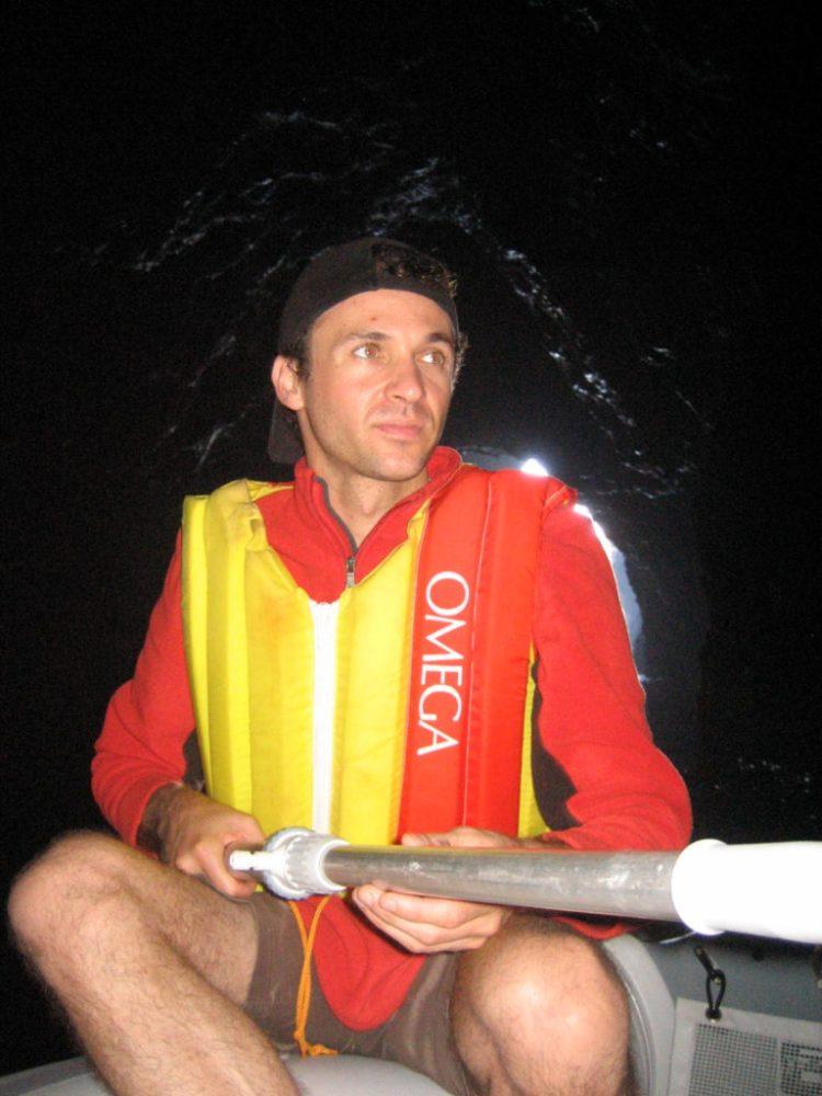 Robert in boat in Painted Cave, Santa Cruz, Channel Islands, California