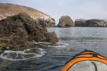 Kayaking at Little Scorpion, Santa Cruz, Channel Islands, California.