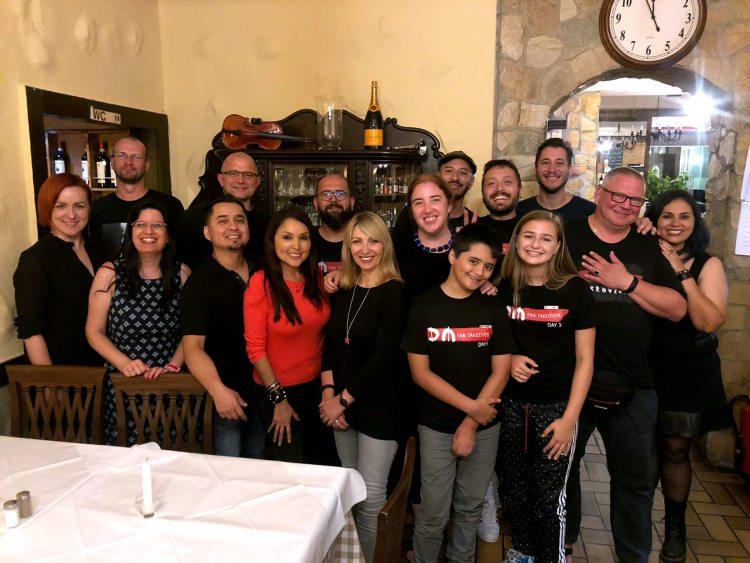Takeoverees meet up at an Italian restaurant next to Hansa Studios in Berlin