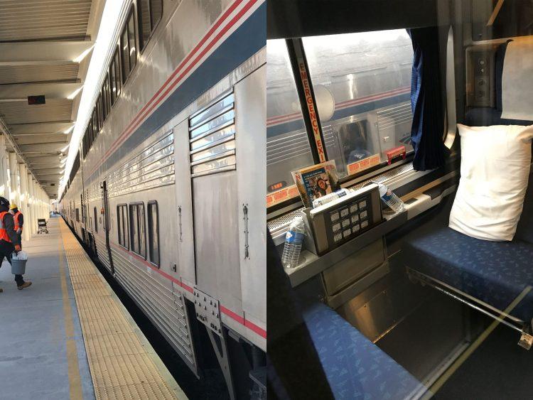 Amtrak auto train, exterior and roomette interior