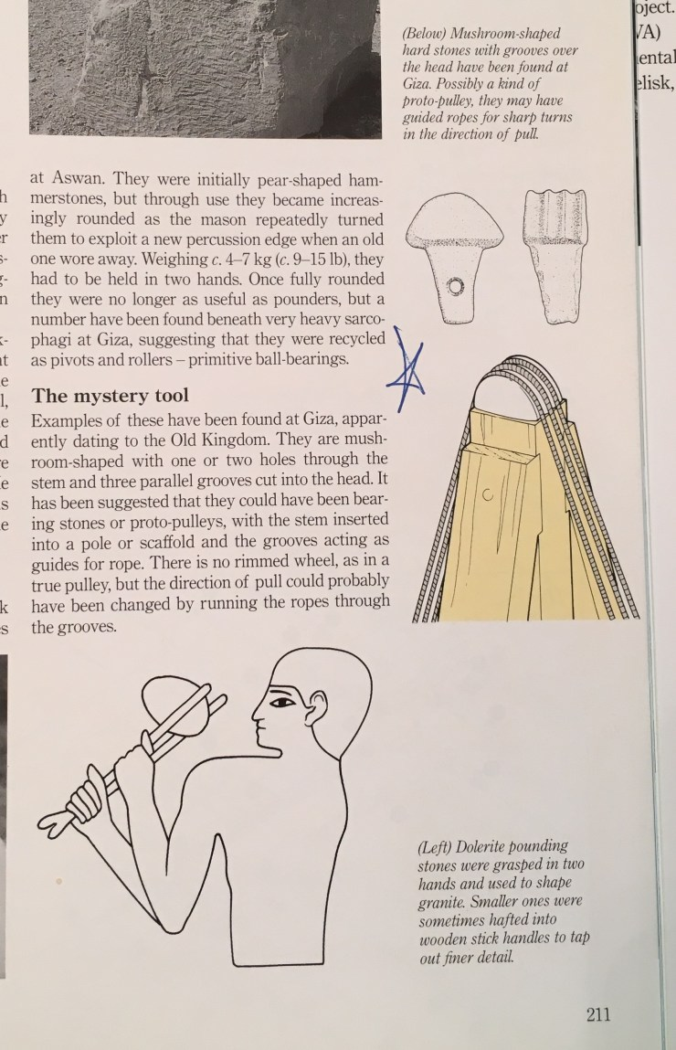 "A copy of a page from Mark Lehner's ""The Complete Pyramids"" book, showing ""mystery tool"" that I'd conceived."