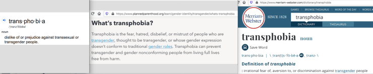 Composite of some definitions of transphobia.