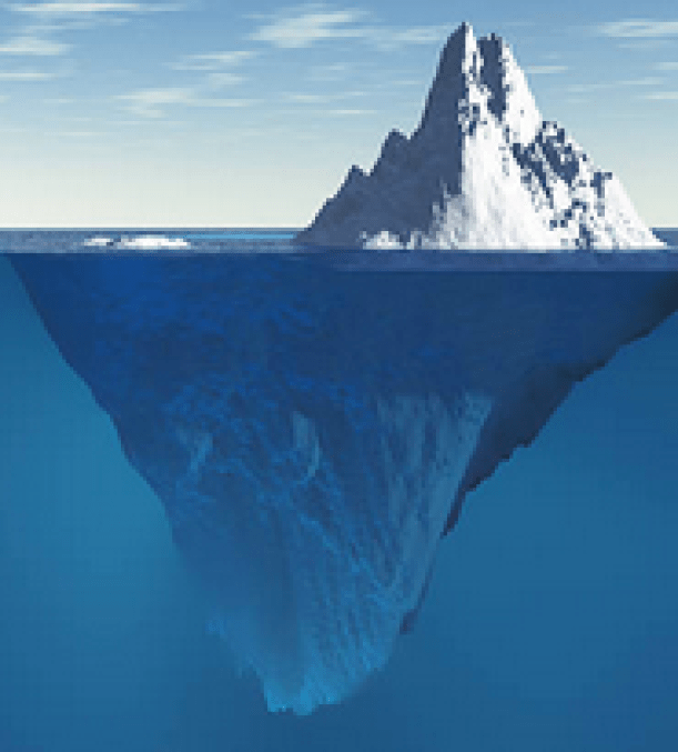 "An iceberg is shown, with 80% of it unseen, as is ""transgender"" while hiding T sex issues."