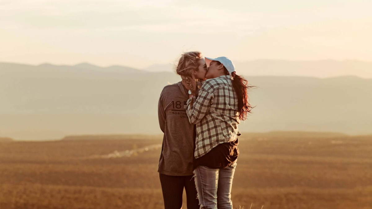 Lesbian couple kissing