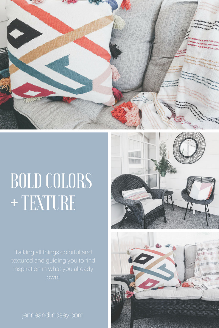 Bold colors and textures are so on trend this year!  See our faves from the Opalhouse Collection and some examples of color and texture we found in our own homes.