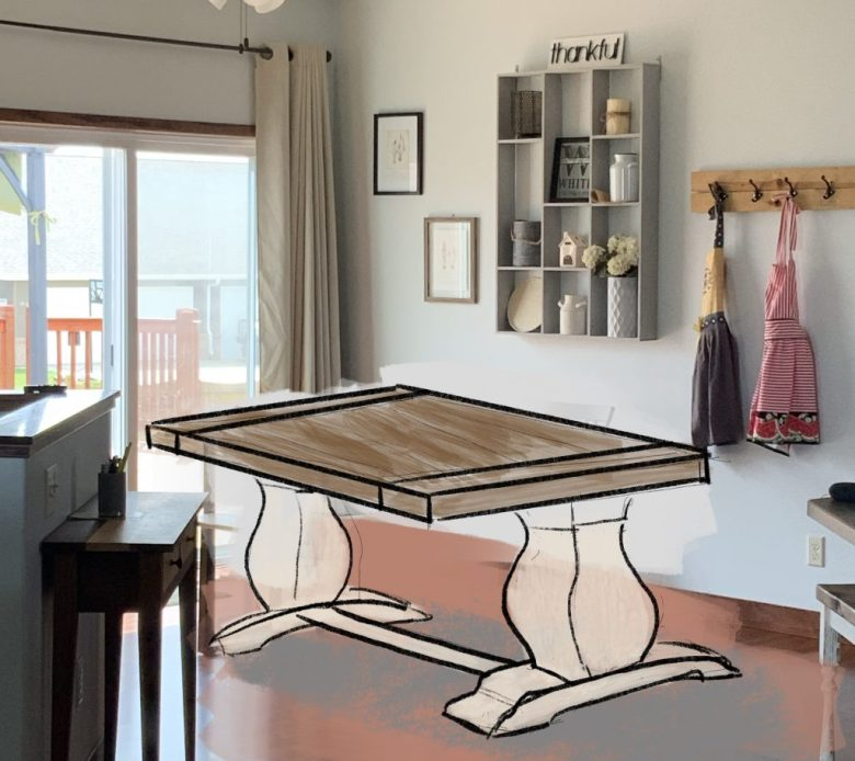 This is a kitchen table that we sketched for a client using our iPad.