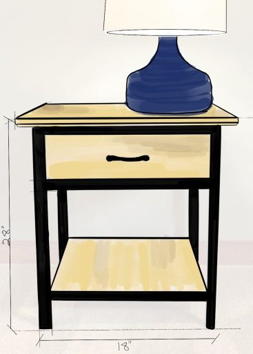 This is a nightstand we sketched for a furniture client using our iPad.