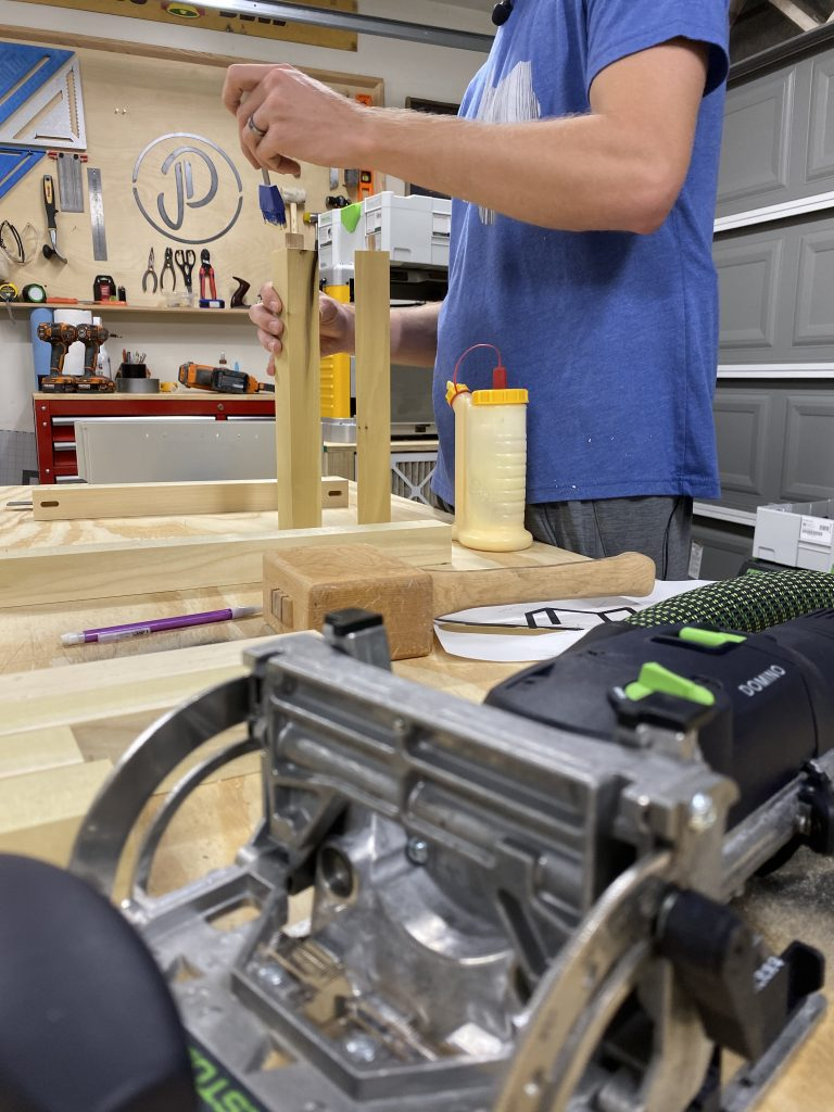 We used the Festool Domino to join our poplar legs together for our coffee table.