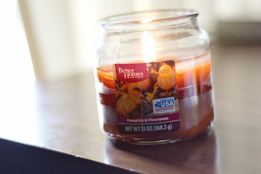 Pumpkin and pinecone candle