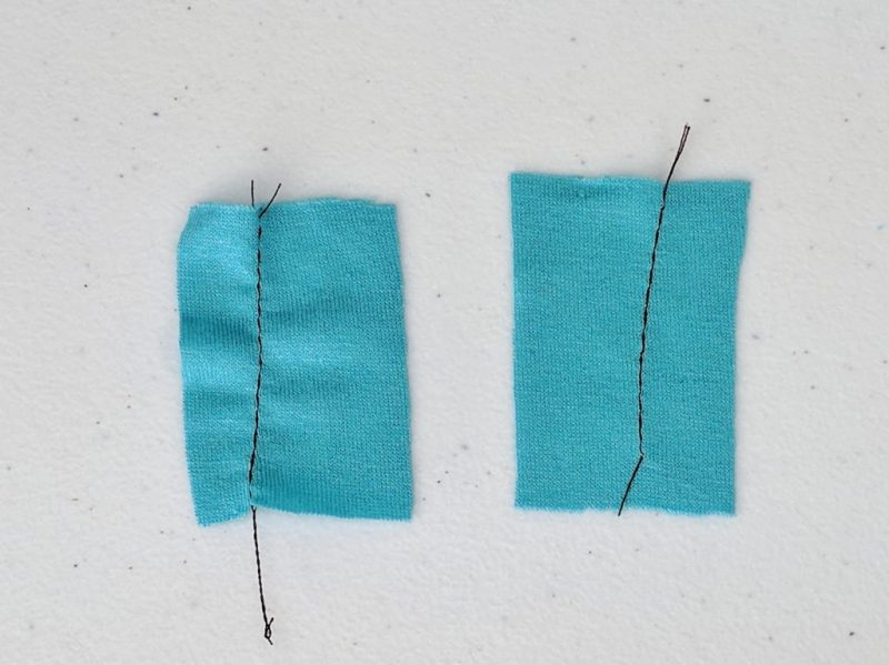 Comparison of fabric sewn using a walking foot and a normal foot. Normal foot in on the left, walking foot on the right.