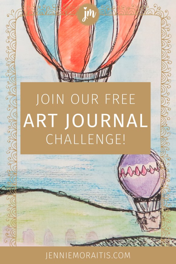 Join this fun (and easy) art journaling challenge, and start filling up your lovely art journal TODAY! We are going to have so much fun with biweekly prompts that you can work on at your own pace. And it's FREE! #artjournal