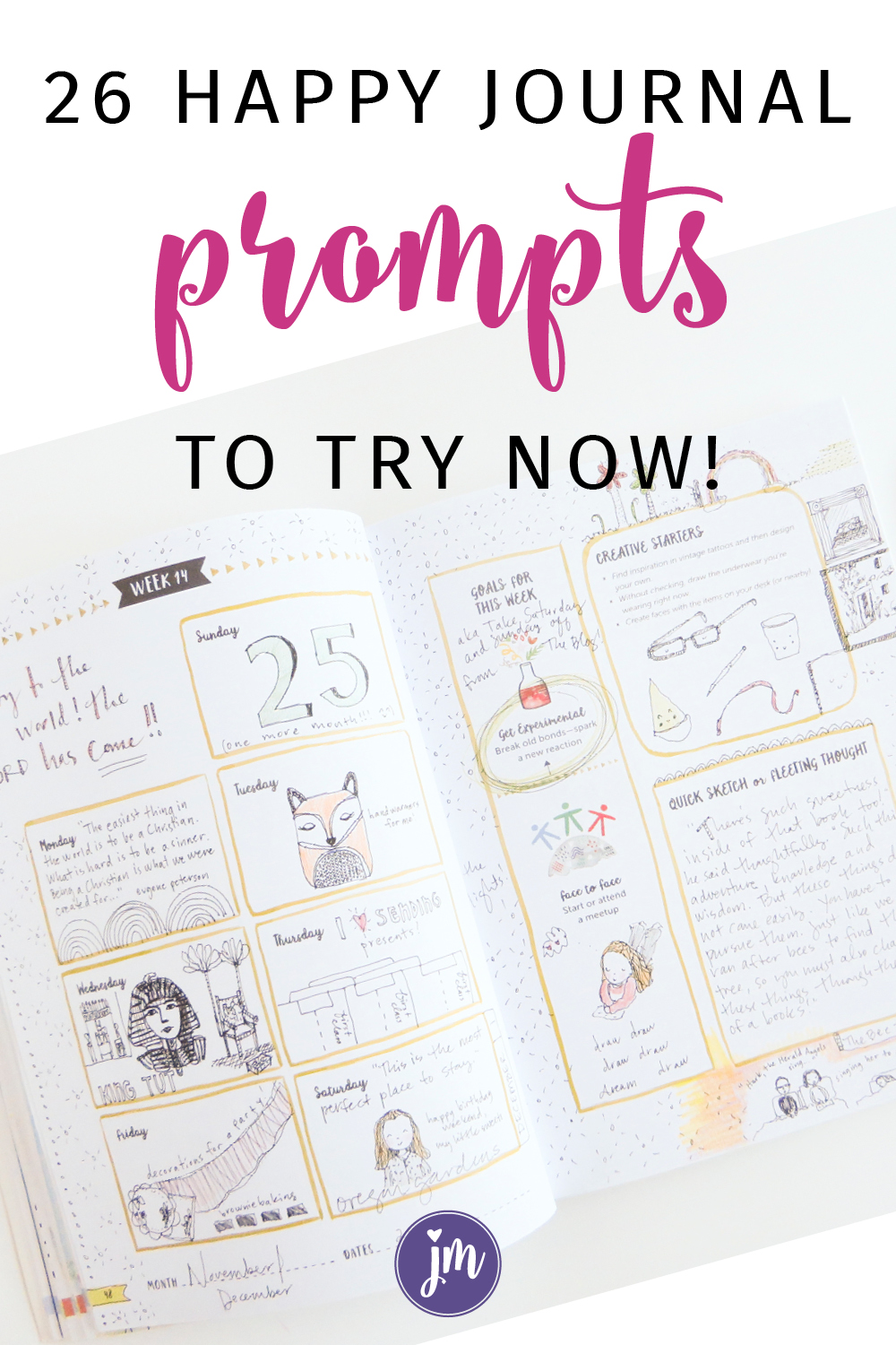 LOVE these prompts! They're great for bullet journals too! A happy journal is the cute, rambunctious kiddo of an art journal and gratitude journal. No need to pull out all the art supplies to make an art journal spread . . . and no need to keep a list a mile long of everything you're grateful for in life. I love my happy journal so much! #happyjournalhappylife