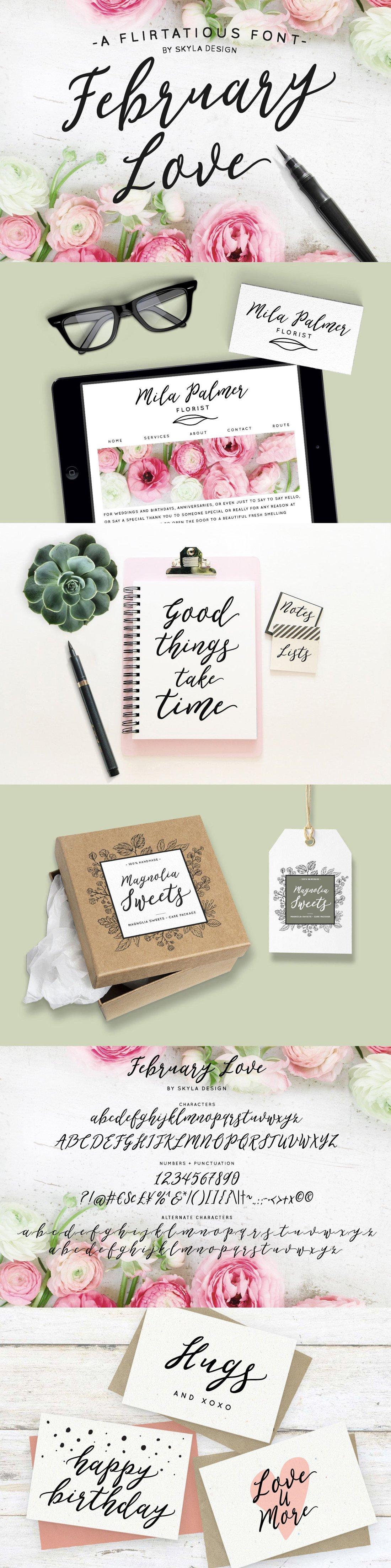 A flirty script font February Love.