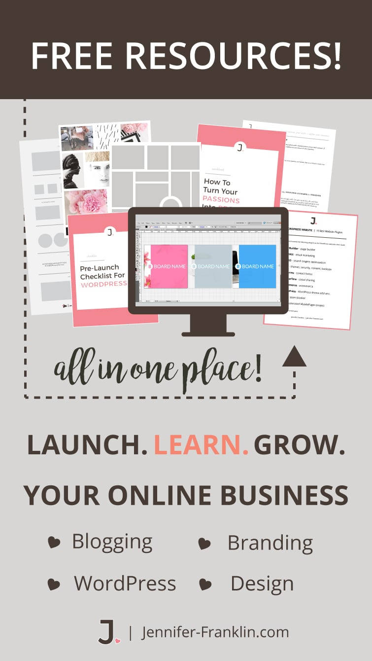 FREE Blog Resources | Launch Learn Grow Your Online Business | Blogging | Branding | WordPress | Jennifer-Franklin.com/free-resources