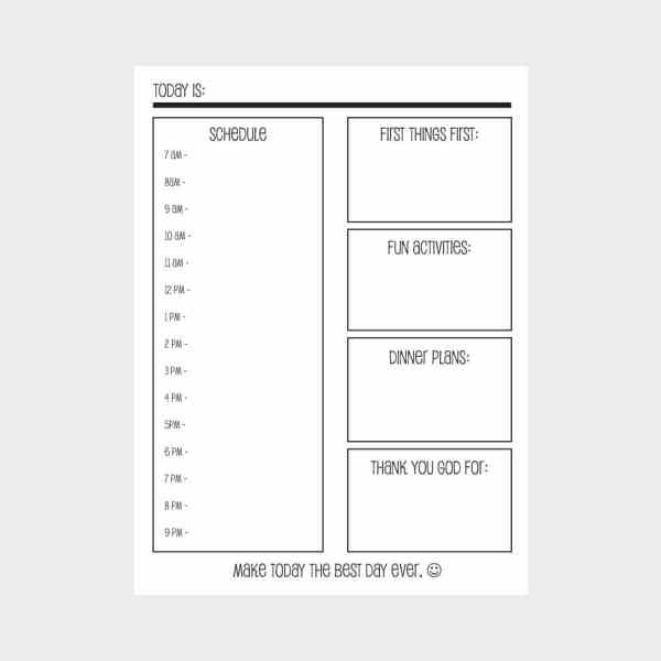 Download and print this daily planner and pin it to the refrigerator to organize your family's day. Get yours at Jennifer-Franklin.com.