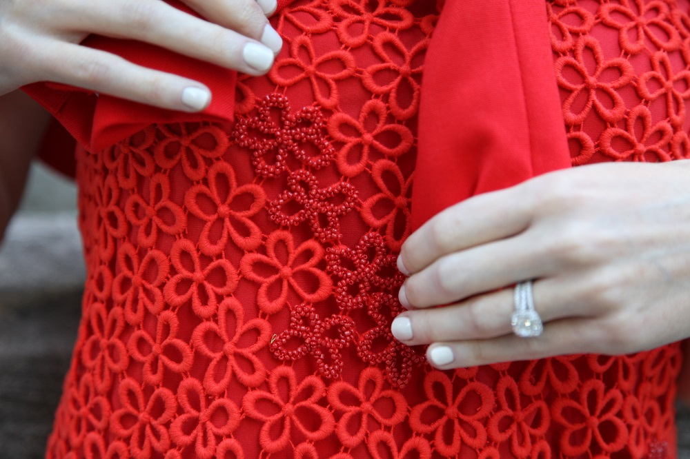 Red Lace Shirt Details