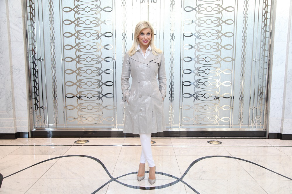 full w coat, White Outfit, Publicist in Pearls