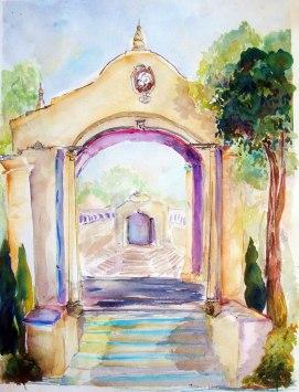 Balboa-Park-Theater-Entrance,-by-Jennifer-Bentson,-Watercolor,-20'-x-24'